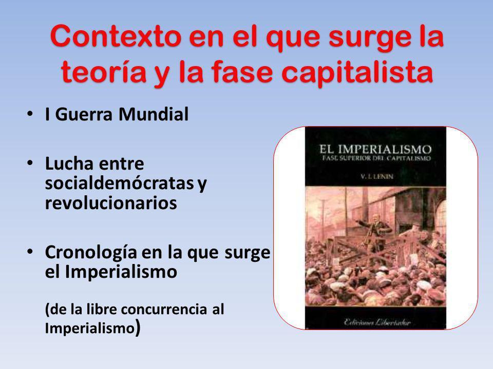 Contexto en el que surge la teoría y la fase capitalista I Guerra Mundial Lucha entre socialdemócratas y revolucionarios Cronología en la que surge el
