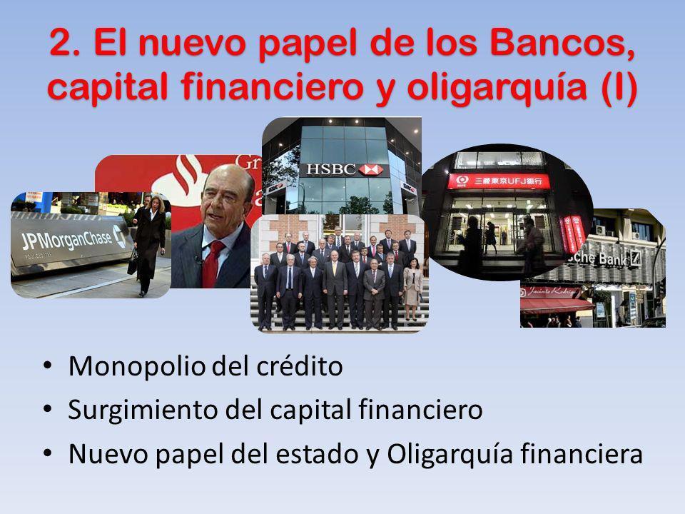2. El nuevo papel de los Bancos, capital financiero y oligarquía (I) Monopolio del crédito Surgimiento del capital financiero Nuevo papel del estado y