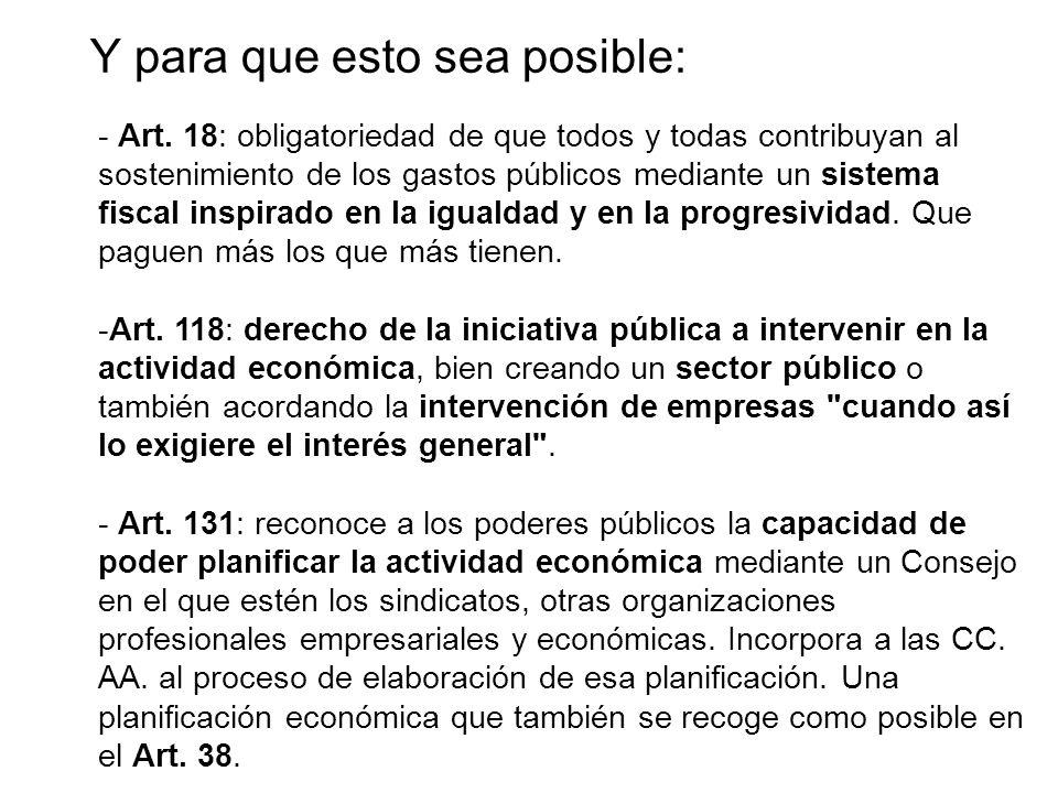 - Art. 18: obligatoriedad de que todos y todas contribuyan al sostenimiento de los gastos públicos mediante un sistema fiscal inspirado en la igualdad