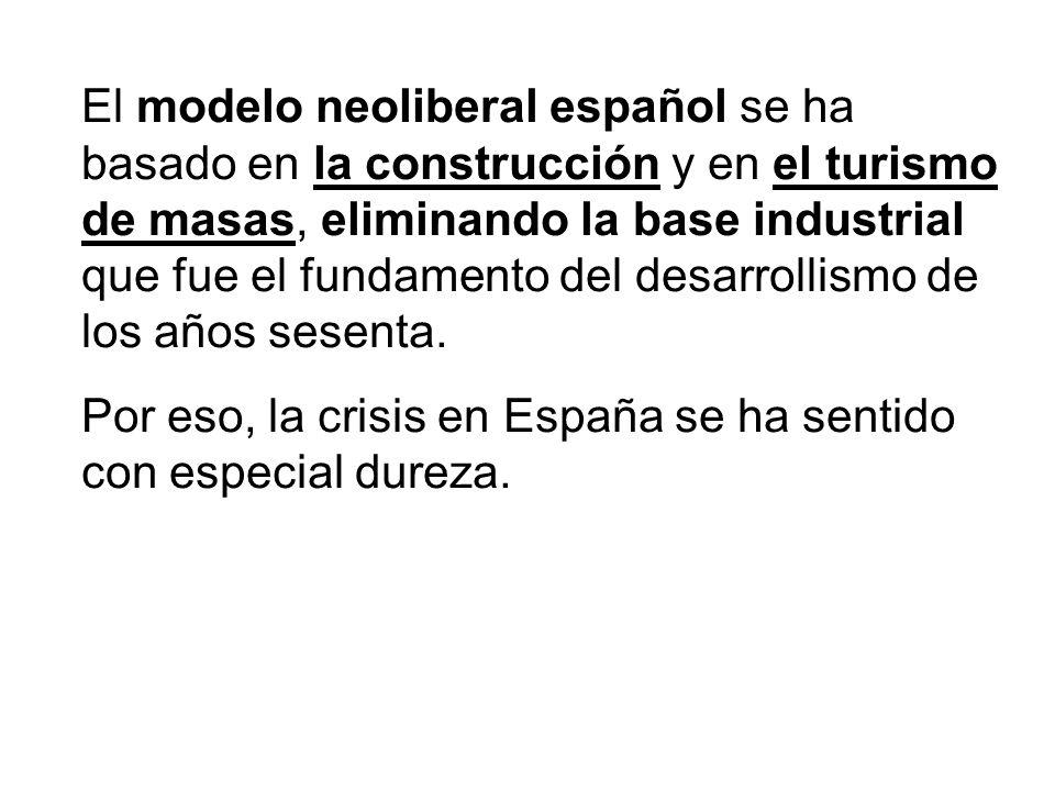 El modelo neoliberal español se ha basado en la construcción y en el turismo de masas, eliminando la base industrial que fue el fundamento del desarro