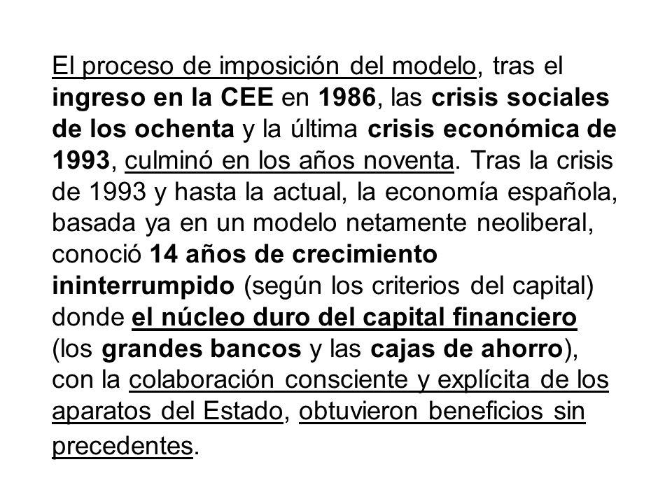 El proceso de imposición del modelo, tras el ingreso en la CEE en 1986, las crisis sociales de los ochenta y la última crisis económica de 1993, culmi