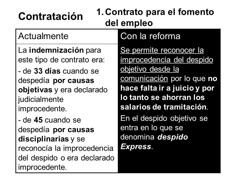 Contratación ActualmenteCon la reforma La indemnización para este tipo de contrato era: - de 33 días cuando se despedía por causas objetivas y era dec