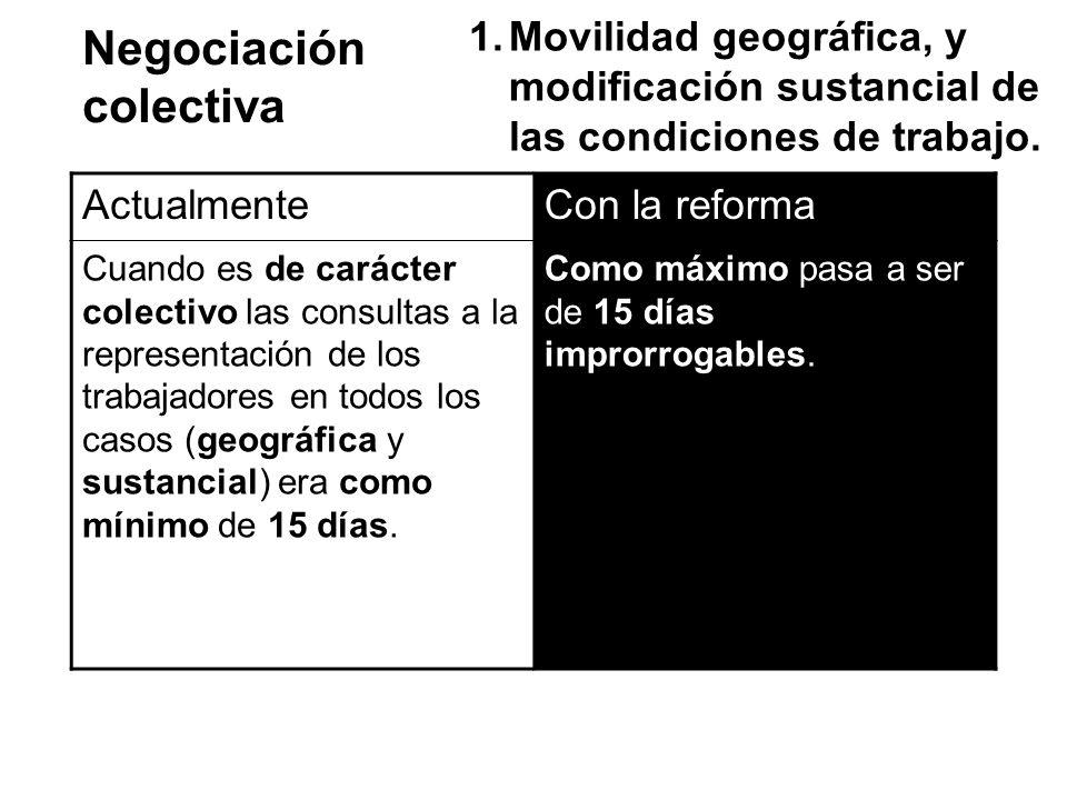 Negociación colectiva 1.Movilidad geográfica, y modificación sustancial de las condiciones de trabajo. ActualmenteCon la reforma Cuando es de carácter