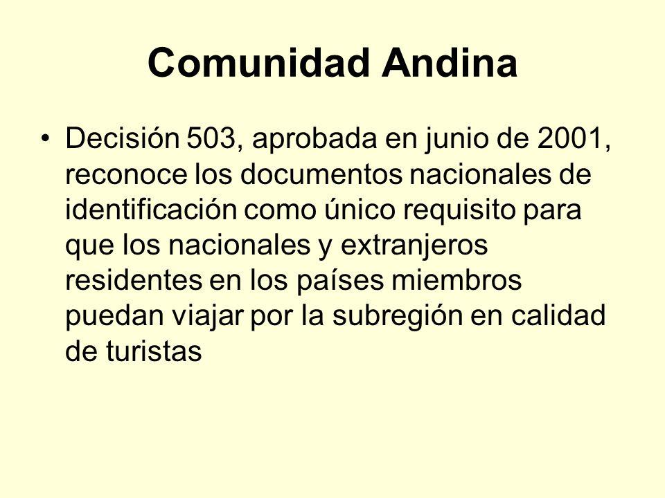 Comunidad Andina Decisión 503, aprobada en junio de 2001, reconoce los documentos nacionales de identificación como único requisito para que los nacio