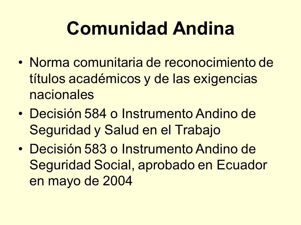 Comunidad Andina Norma comunitaria de reconocimiento de títulos académicos y de las exigencias nacionales Decisión 584 o Instrumento Andino de Segurid
