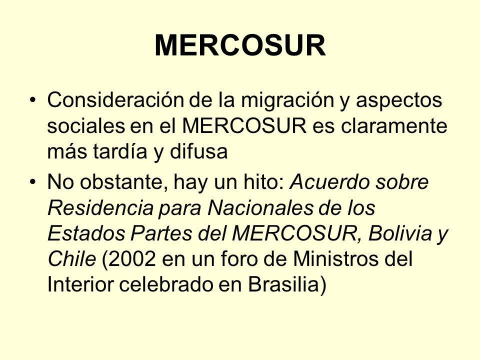 MERCOSUR Consideración de la migración y aspectos sociales en el MERCOSUR es claramente más tardía y difusa No obstante, hay un hito: Acuerdo sobre Re