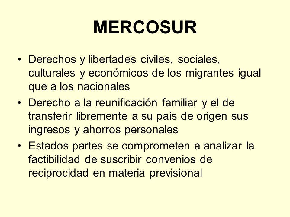 MERCOSUR Derechos y libertades civiles, sociales, culturales y económicos de los migrantes igual que a los nacionales Derecho a la reunificación famil