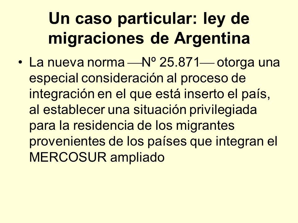 Un caso particular: ley de migraciones de Argentina La nueva norma Nº 25.871 otorga una especial consideración al proceso de integración en el que est