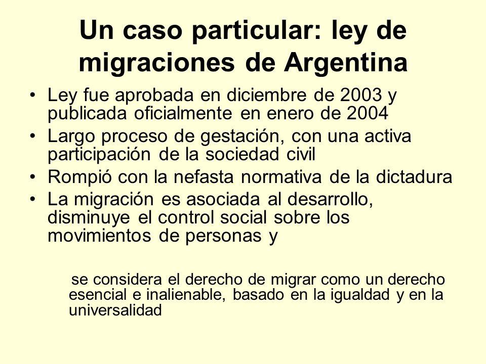 Un caso particular: ley de migraciones de Argentina Ley fue aprobada en diciembre de 2003 y publicada oficialmente en enero de 2004 Largo proceso de g