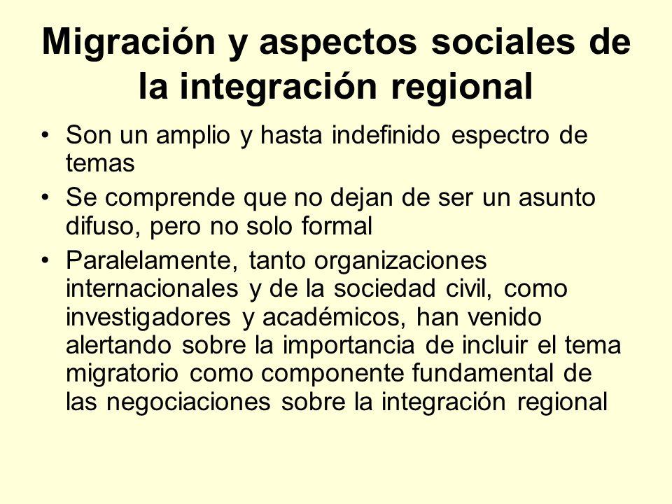 Migración y aspectos sociales de la integración regional Son un amplio y hasta indefinido espectro de temas Se comprende que no dejan de ser un asunto