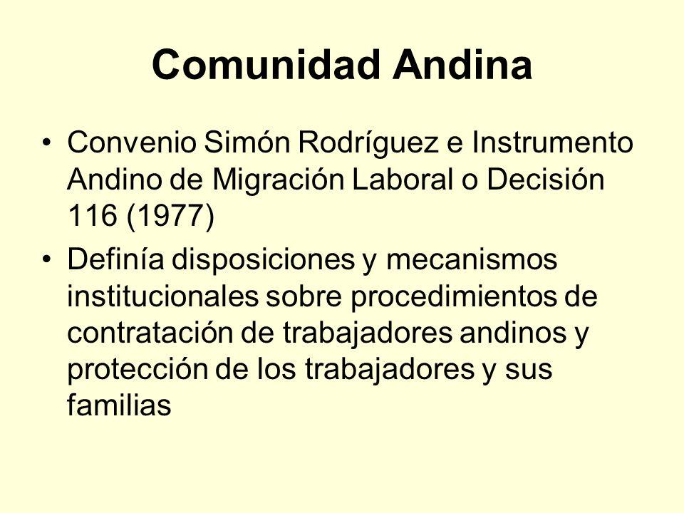 Comunidad Andina Convenio Simón Rodríguez e Instrumento Andino de Migración Laboral o Decisión 116 (1977) Definía disposiciones y mecanismos instituci