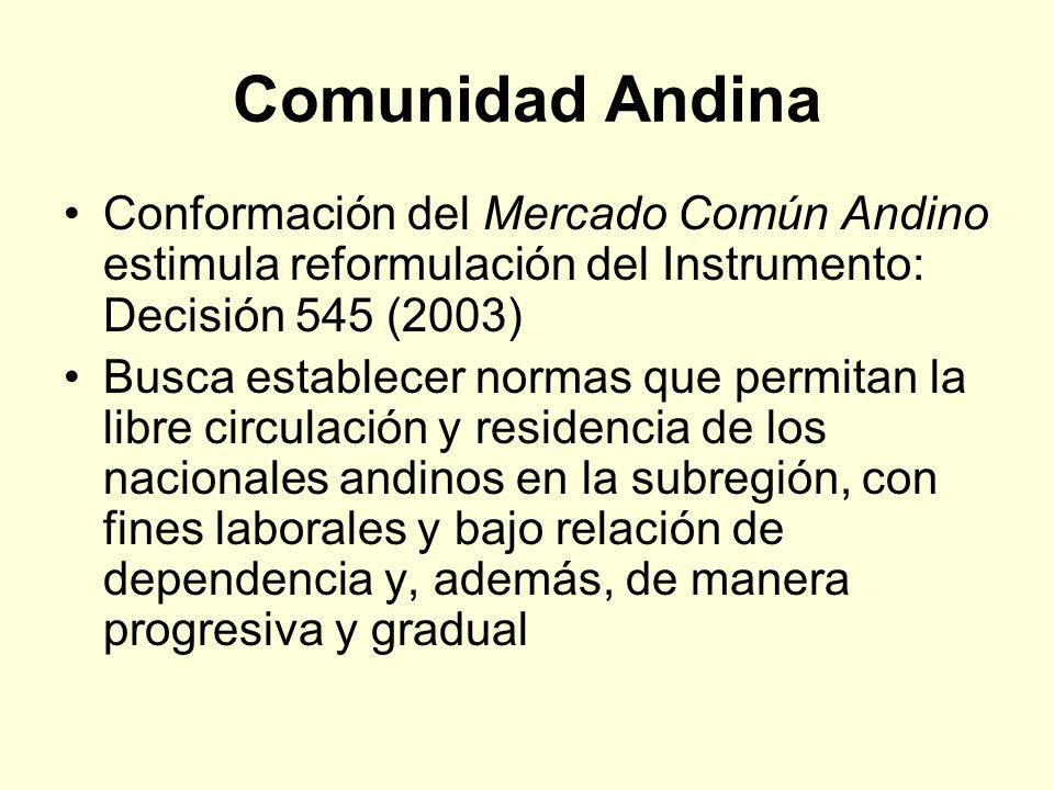Comunidad Andina Conformación del Mercado Común Andino estimula reformulación del Instrumento: Decisión 545 (2003) Busca establecer normas que permita