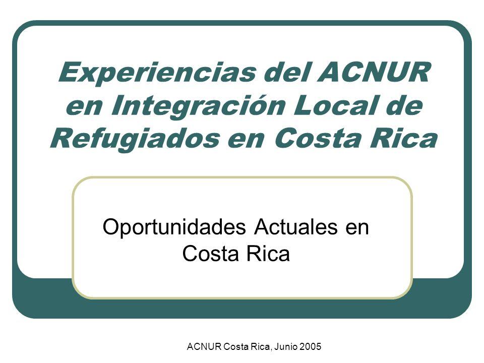 Impacto de Micro-créditos (Ingresos Familiar) Incremento proporcional con el tiempo después del micro-crédito % Ingresos mensuales por familia (en colones) Fuente: Diagnóstico sobre el grado de Integración Local de la Población Refugiada Colombiana en Costa Rica, 2003; Proyecto UCR-ACNUR
