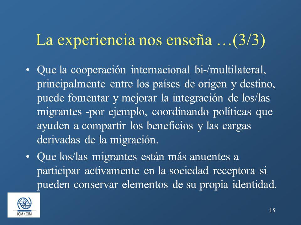 15 La experiencia nos enseña …(3/3) Que la cooperación internacional bi-/multilateral, principalmente entre los países de origen y destino, puede fome
