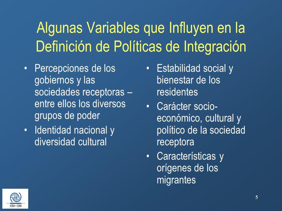 5 Algunas Variables que Influyen en la Definición de Políticas de Integración Percepciones de los gobiernos y las sociedades receptoras – entre ellos