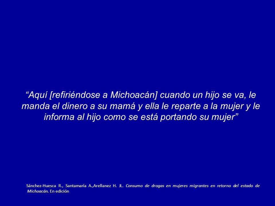 Aquí [refiriéndose a Michoacán] cuando un hijo se va, le manda el dinero a su mamá y ella le reparte a la mujer y le informa al hijo como se está portando su mujer Sánchez-Huesca R., Santamaría A.,Arellanez H.