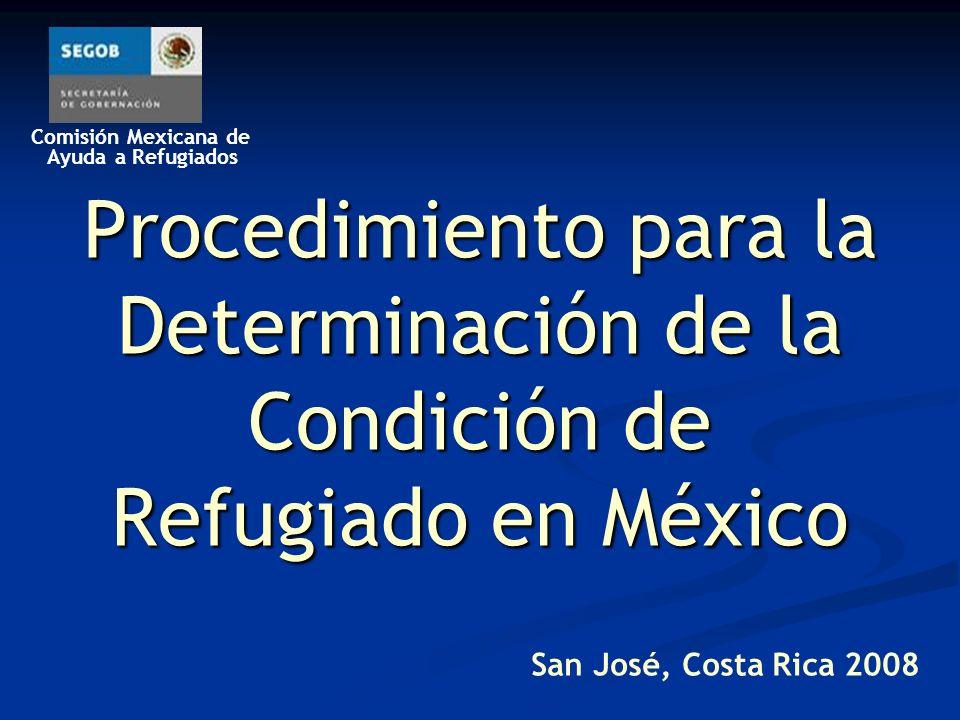 Comisión Mexicana de Ayuda a Refugiados Antecedentes De 1982 al 2002, el Alto Comisionado de las Naciones Unidas para los Refugiados (ACNUR) llevó a cabo en México la determinación de la condición de refugiado, bajo su Mandato, en virtud de que México no era todavía parte de la Convención sobre el Estatuto de los Refugiados de 1951.