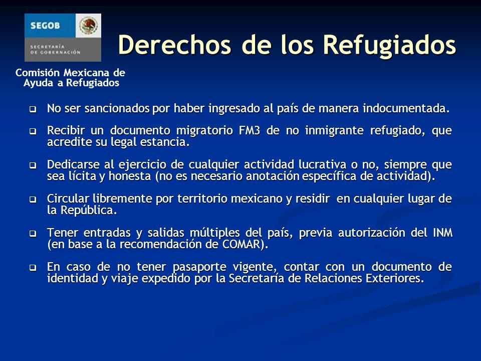 Comisión Mexicana de Ayuda a Refugiados Derechos de los Refugiados No ser sancionados por haber ingresado al país de manera indocumentada.