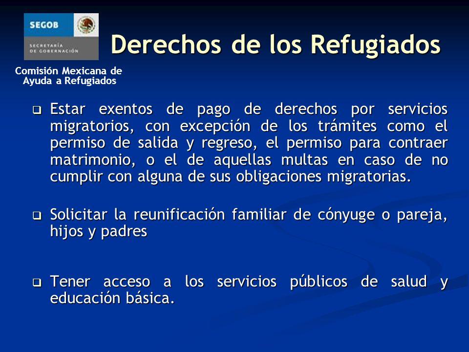 Comisión Mexicana de Ayuda a Refugiados Derechos de los Refugiados Estar exentos de pago de derechos por servicios migratorios, con excepción de los trámites como el permiso de salida y regreso, el permiso para contraer matrimonio, o el de aquellas multas en caso de no cumplir con alguna de sus obligaciones migratorias.