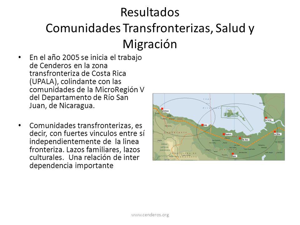 Resultados Comunidades Transfronterizas, Salud y Migración En el año 2005 se inicia el trabajo de Cenderos en la zona transfronteriza de Costa Rica (U