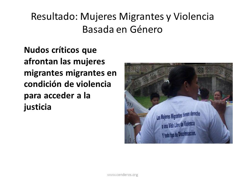 Resultado: Mujeres Migrantes y Violencia Basada en Género Nudos críticos que afrontan las mujeres migrantes migrantes en condición de violencia para a