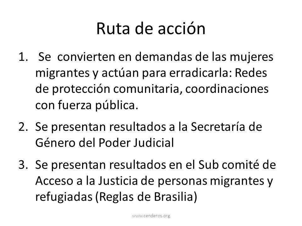 Ruta de acción 1. Se convierten en demandas de las mujeres migrantes y actúan para erradicarla: Redes de protección comunitaria, coordinaciones con fu