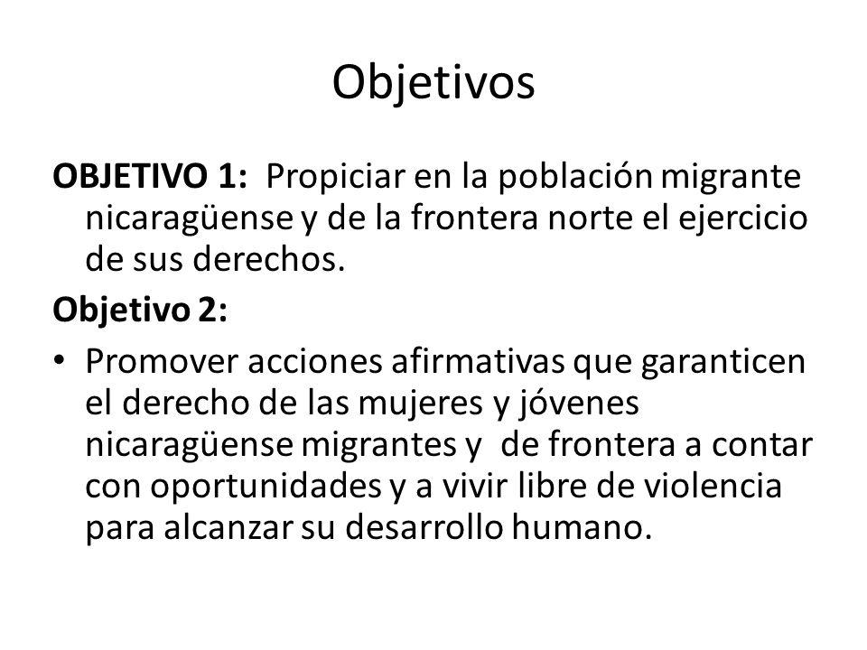 Objetivos OBJETIVO 1: Propiciar en la población migrante nicaragüense y de la frontera norte el ejercicio de sus derechos. Objetivo 2: Promover accion
