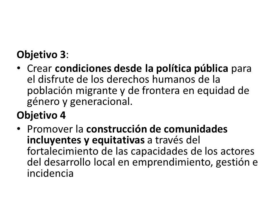 Objetivo 3: Crear condiciones desde la política pública para el disfrute de los derechos humanos de la población migrante y de frontera en equidad de
