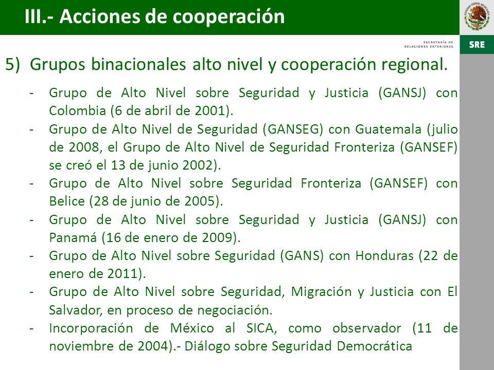 6)Los días 12 y 13 de enero de 2011, el Subsecretario para América Latina y el Caribe de la Cancillería mexicana encabezó una misión de alto nivel que visitó Guatemala y Honduras, con los siguientes resultados: -Se establecieron puntos de contacto para dar seguimiento a las 21 iniciativas acordadas en la Reunión Ministerial de octubre de 2010.