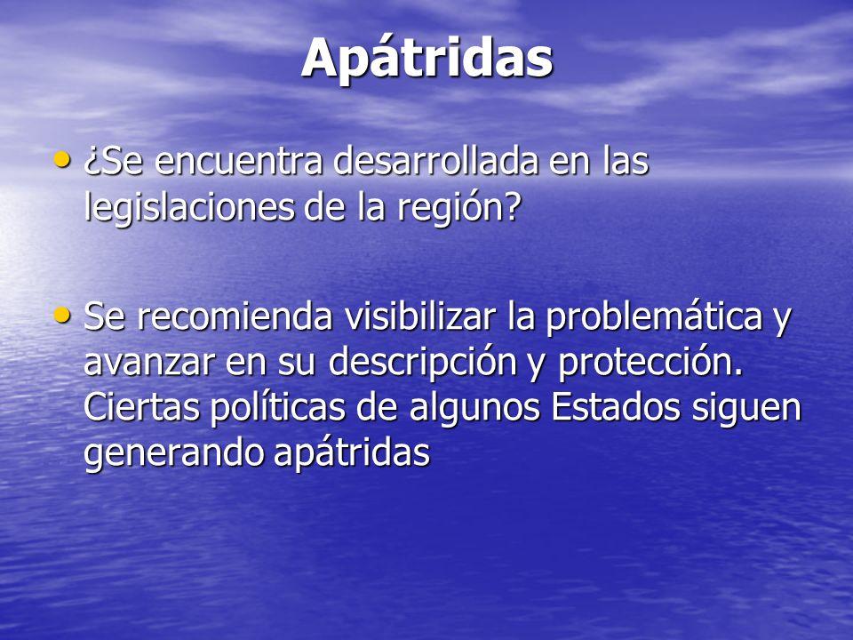 Apátridas ¿Se encuentra desarrollada en las legislaciones de la región.