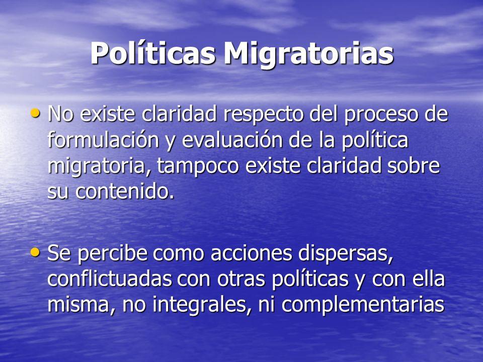 Políticas Migratorias No existe claridad respecto del proceso de formulación y evaluación de la política migratoria, tampoco existe claridad sobre su contenido.