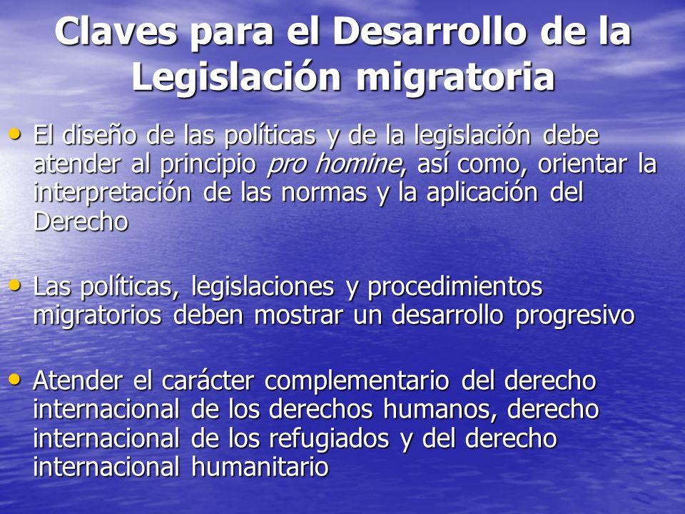 Claves para el Desarrollo de la Legislación migratoria El diseño de las políticas y de la legislación debe atender al principio pro homine, así como, orientar la interpretación de las normas y la aplicación del Derecho El diseño de las políticas y de la legislación debe atender al principio pro homine, así como, orientar la interpretación de las normas y la aplicación del Derecho Las políticas, legislaciones y procedimientos migratorios deben mostrar un desarrollo progresivo Las políticas, legislaciones y procedimientos migratorios deben mostrar un desarrollo progresivo Atender el carácter complementario del derecho internacional de los derechos humanos, derecho internacional de los refugiados y del derecho internacional humanitario Atender el carácter complementario del derecho internacional de los derechos humanos, derecho internacional de los refugiados y del derecho internacional humanitario