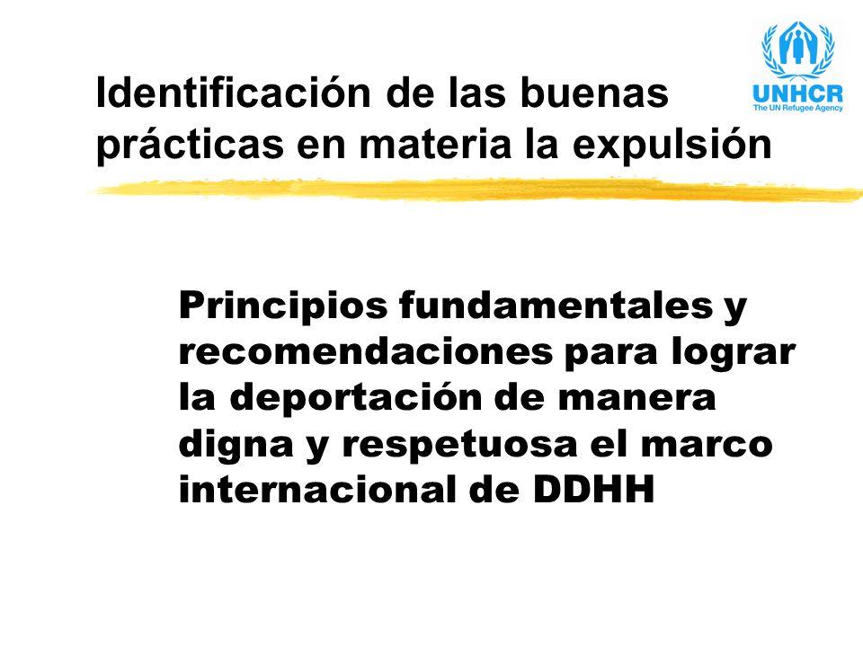 Identificación de las buenas prácticas en materia la expulsión Principios fundamentales y recomendaciones para lograr la deportación de manera digna y respetuosa el marco internacional de DDHH
