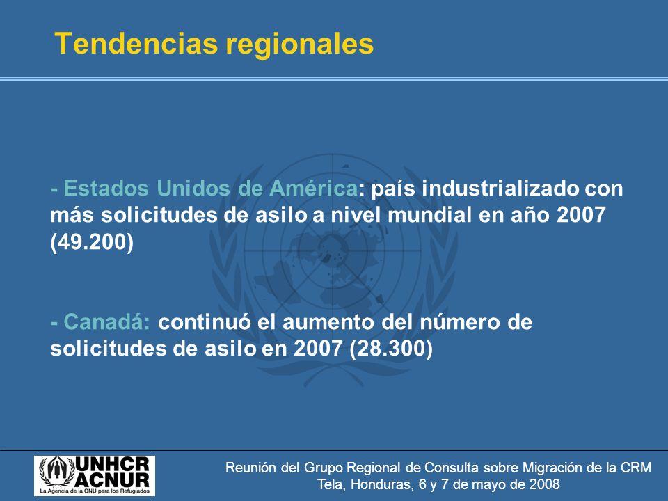 Reunión del Grupo Regional de Consulta sobre Migración de la CRM Tela, Honduras, 6 y 7 de mayo de 2008 Tendencias regionales - Estados Unidos de América: país industrializado con más solicitudes de asilo a nivel mundial en año 2007 (49.200) - Canadá: continuó el aumento del número de solicitudes de asilo en 2007 (28.300)
