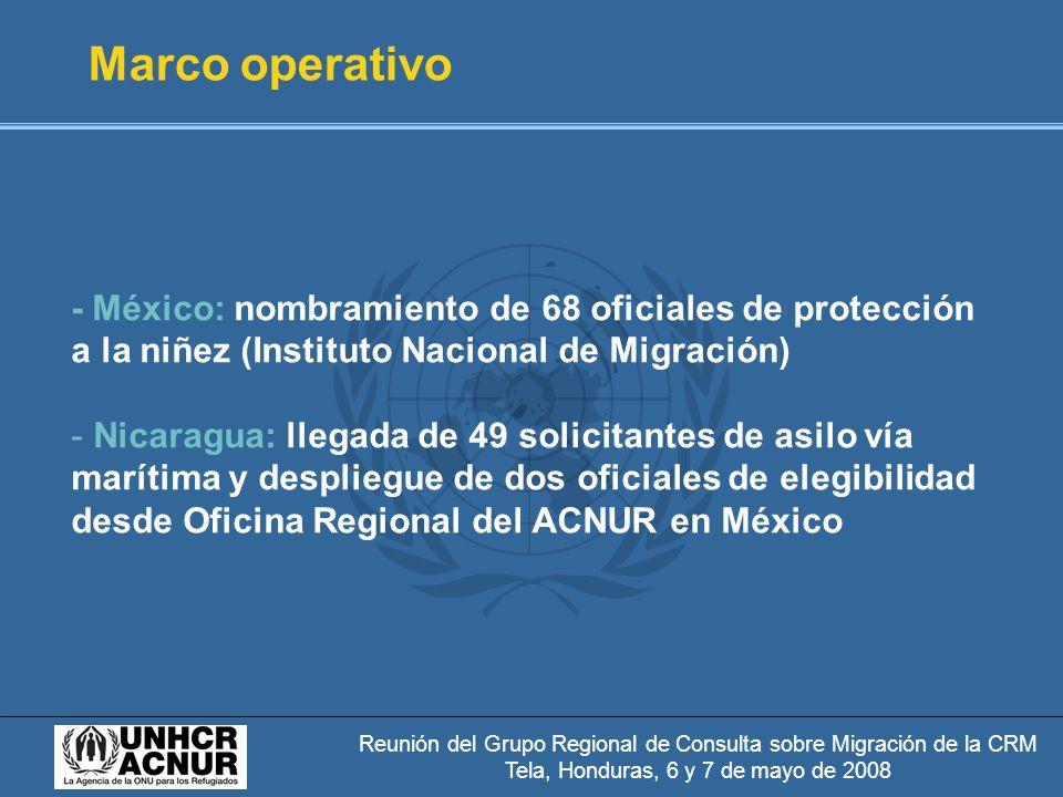Reunión del Grupo Regional de Consulta sobre Migración de la CRM Tela, Honduras, 6 y 7 de mayo de 2008 Marco operativo - México: nombramiento de 68 oficiales de protección a la niñez (Instituto Nacional de Migración) - Nicaragua: llegada de 49 solicitantes de asilo vía marítima y despliegue de dos oficiales de elegibilidad desde Oficina Regional del ACNUR en México