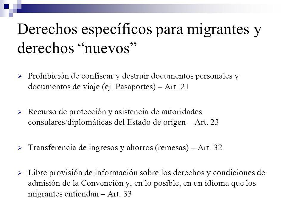 Derechos específicos para migrantes y derechos nuevos Prohibición de confiscar y destruir documentos personales y documentos de viaje (ej. Pasaportes)