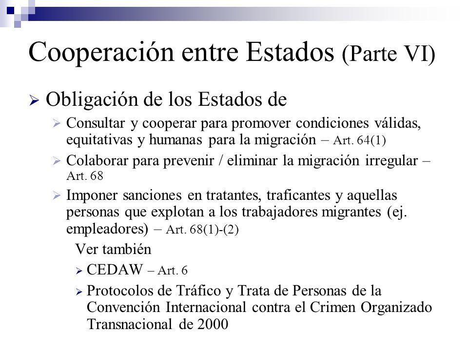 Cooperación entre Estados (Parte VI) Obligación de los Estados de Consultar y cooperar para promover condiciones válidas, equitativas y humanas para l