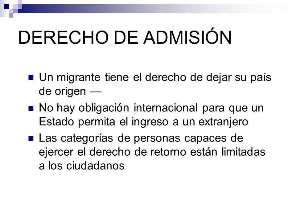 DERECHO DE ADMISIÓN Un migrante tiene el derecho de dejar su país de origen No hay obligación internacional para que un Estado permita el ingreso a un