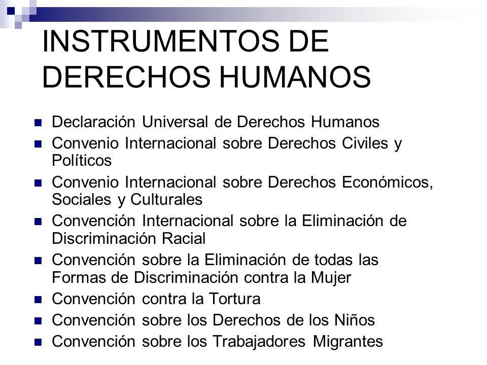 INSTRUMENTOS DE DERECHOS HUMANOS Declaración Universal de Derechos Humanos Convenio Internacional sobre Derechos Civiles y Políticos Convenio Internac