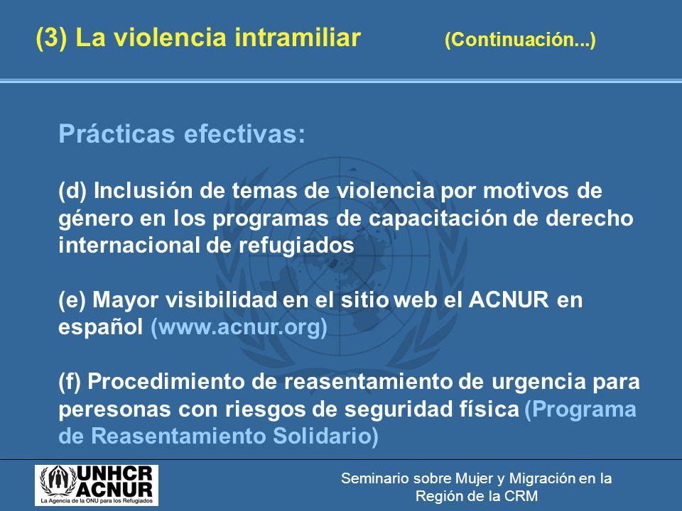 Seminario sobre Mujer y Migración en la Región de la CRM (3) La violencia intramiliar (Continuación...) Prácticas efectivas: (d) Inclusión de temas de violencia por motivos de género en los programas de capacitación de derecho internacional de refugiados (e) Mayor visibilidad en el sitio web el ACNUR en español (www.acnur.org) (f) Procedimiento de reasentamiento de urgencia para peresonas con riesgos de seguridad física (Programa de Reasentamiento Solidario)