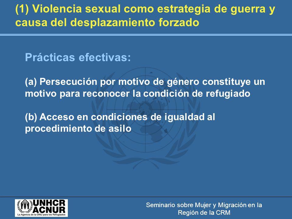 Seminario sobre Mujer y Migración en la Región de la CRM (1) Violencia sexual como estrategia de guerra y causa del desplazamiento forzado Prácticas efectivas: (a) Persecución por motivo de género constituye un motivo para reconocer la condición de refugiado (b) Acceso en condiciones de igualdad al procedimiento de asilo