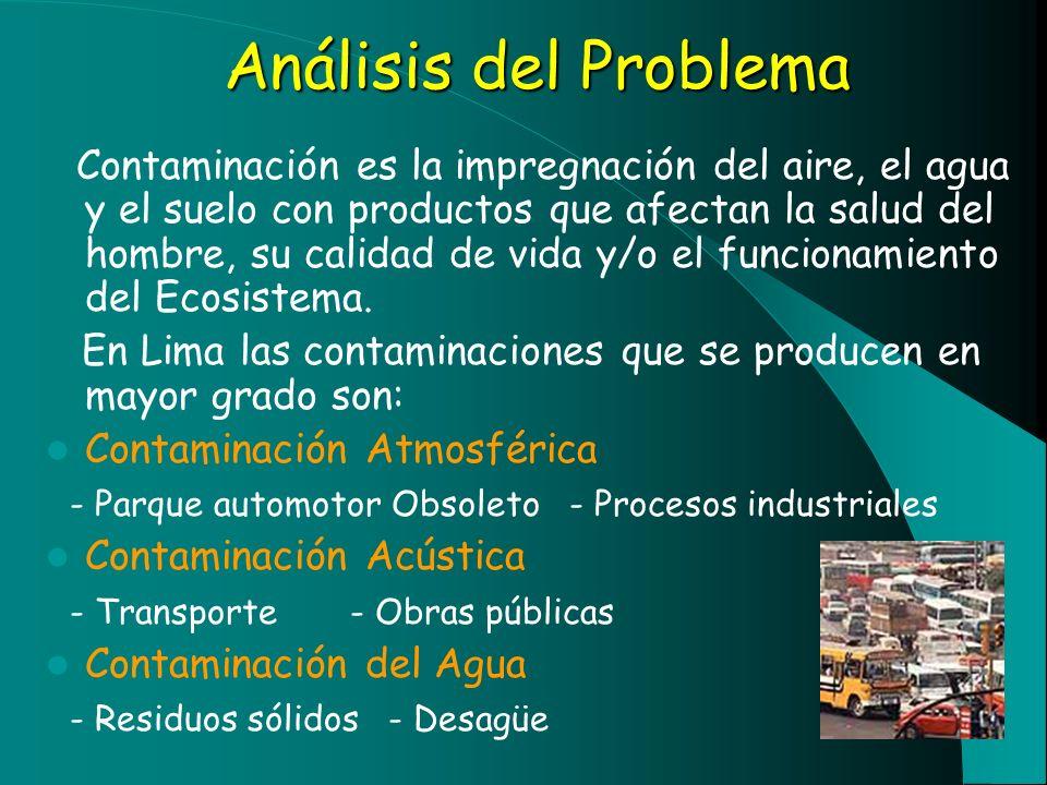 Análisis del Problema Contaminación es la impregnación del aire, el agua y el suelo con productos que afectan la salud del hombre, su calidad de vida