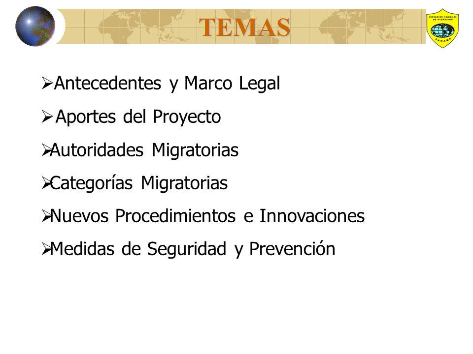 TEMAS Antecedentes y Marco Legal Aportes del Proyecto Autoridades Migratorias Categorías Migratorias Nuevos Procedimientos e Innovaciones Medidas de Seguridad y Prevención
