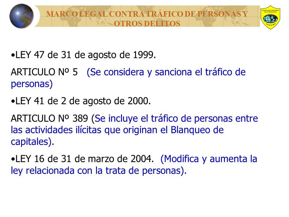 MARCO LEGAL CONTRA TRÁFICO DE PERSONAS Y OTROS DELITOS LEY 47 de 31 de agosto de 1999.