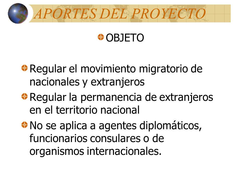 APORTES DEL PROYECTO OBJETO Regular el movimiento migratorio de nacionales y extranjeros Regular la permanencia de extranjeros en el territorio nacional No se aplica a agentes diplomáticos, funcionarios consulares o de organismos internacionales.