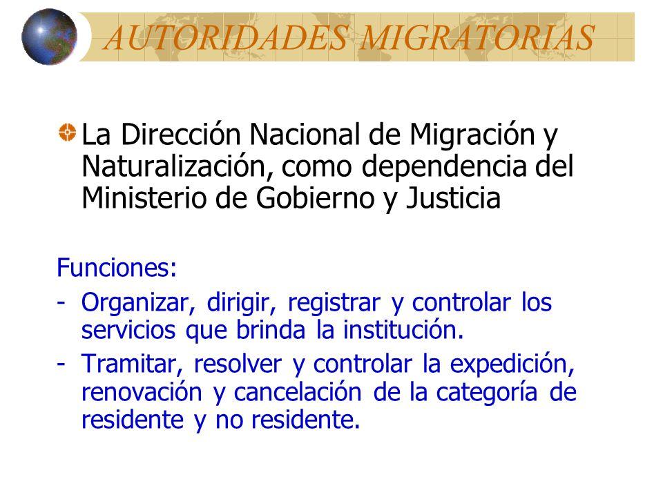 AUTORIDADES MIGRATORIAS La Dirección Nacional de Migración y Naturalización, como dependencia del Ministerio de Gobierno y Justicia Funciones: -Organizar, dirigir, registrar y controlar los servicios que brinda la institución.