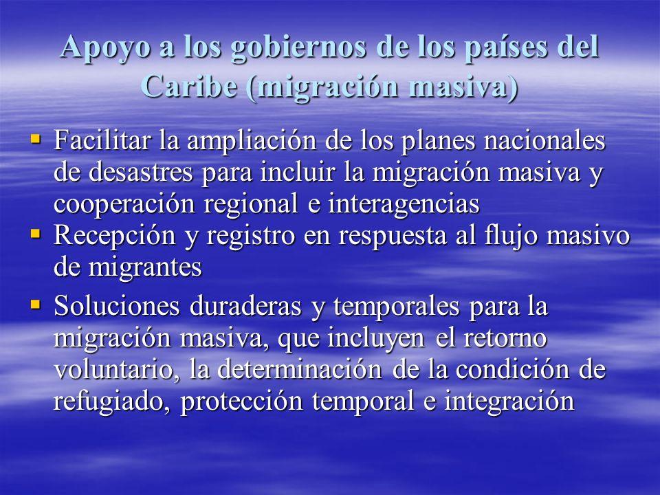 Apoyo a los gobiernos de los países del Caribe (migrantes individuales) Algunos migrantes extrarregionales se acercaron a la OIM para solicitar asistencia de transporte y reunificación familiar.
