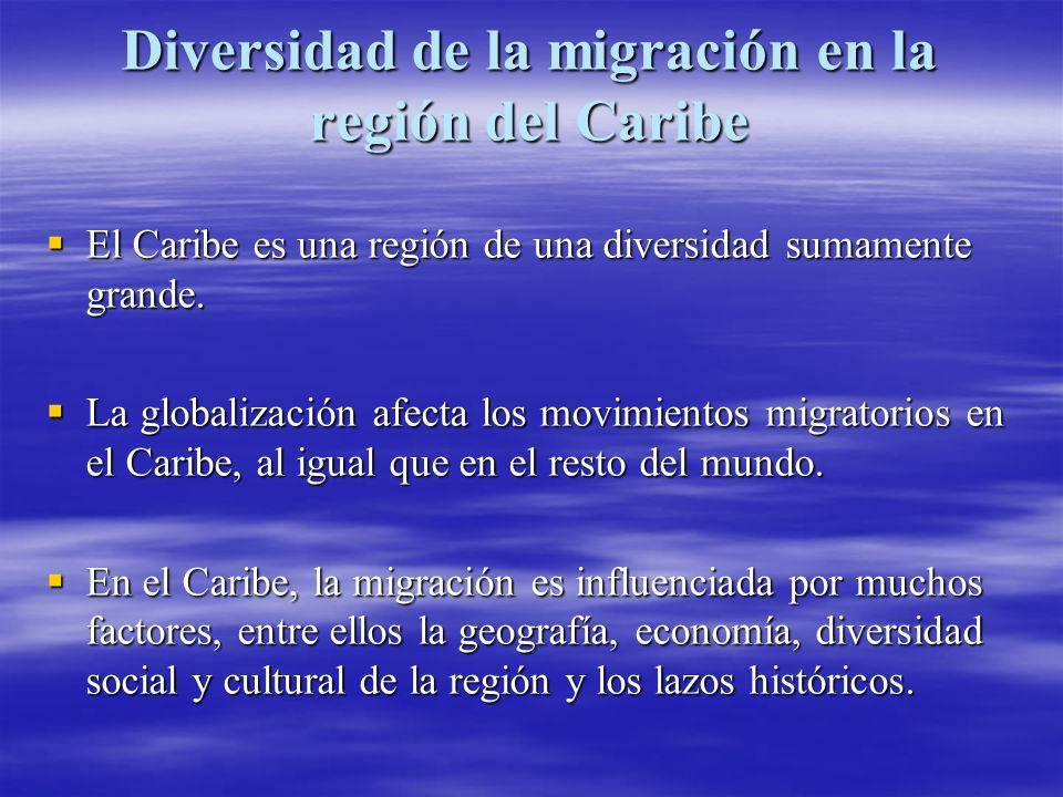 Diversidad de la migración en la región del Caribe (continuación) Los lazos familiares, la cercanía y el idioma inglés convierten a los Estados Unidos, Canadá y el Reino Unido en los países de destino preferidos por muchos migrantes caribeños.