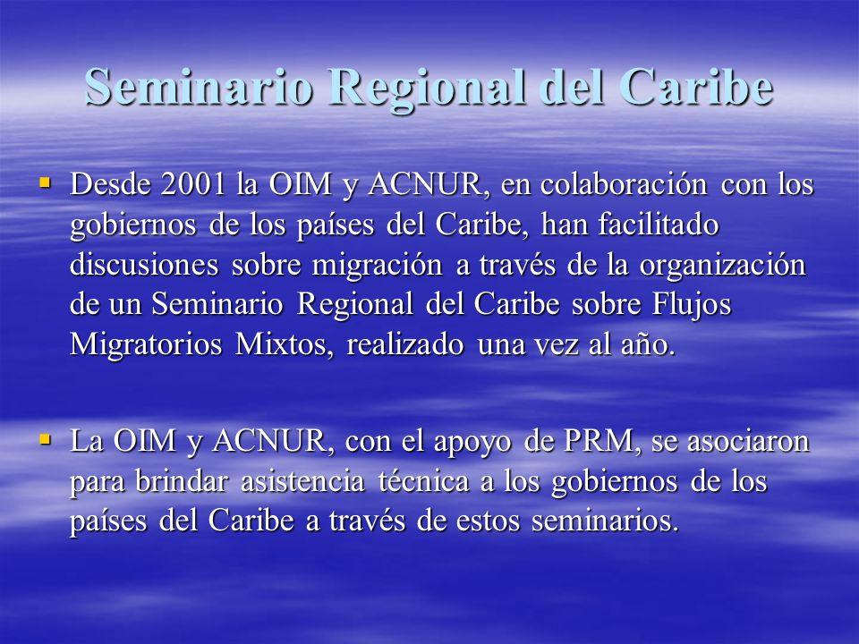Seminario Regional del Caribe (continuación) 40-60 participantes asisten cada año, en representación de hasta 20 países y territorios del Caribe.