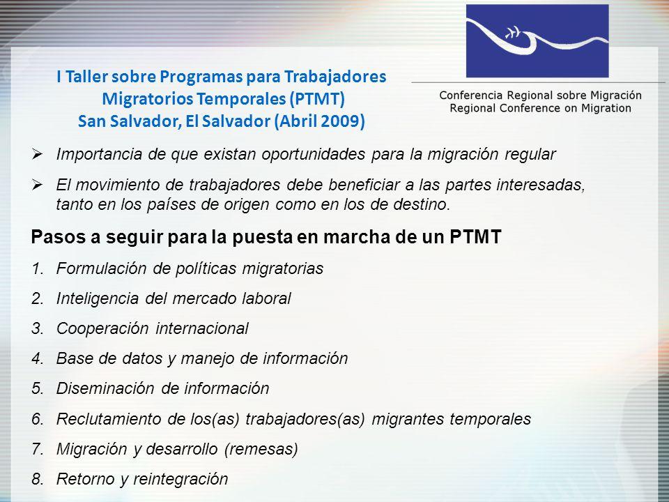I Taller sobre Programas para Trabajadores Migratorios Temporales (PTMT) San Salvador, El Salvador (Abril 2009) Reflexiones finales No existe una política migratoria unitalla Necesario asegurar el bienestar de los trabajadores migrantes antes, durante y después de su empleo.